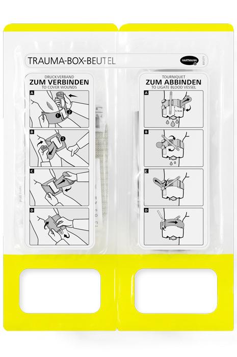 Detailansicht des Trauma-Box-Beutels mit Anleitung zur Benutzung des Inhalts.
